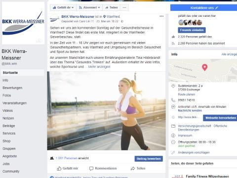 Bildschirmfoto der Facebookseite der BKK Werra-Meissner